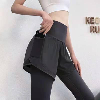 18749/健身裤女高腰提臀假两件跑步瑜伽裤弹力紧身外穿训练速干运动裤女