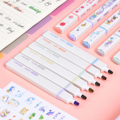64966/得力莫兰迪色荧光笔标记笔集物社荧光笔复古色荧光笔套装ins笔记