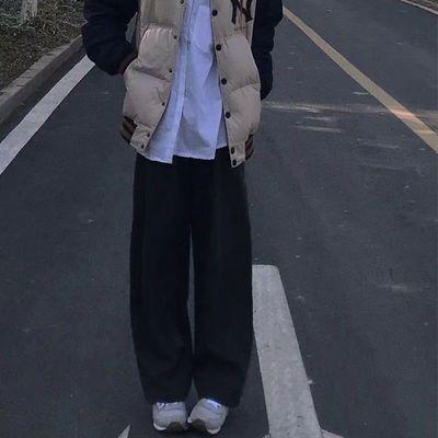裤子女学生韩版宽松拖地裤子休闲显瘦百搭阔腿裤黑色直筒长裤春秋