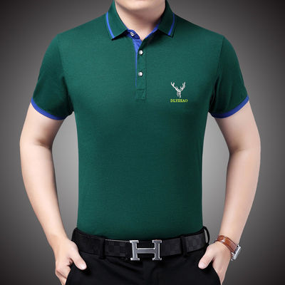 【含棉49%】夏装新款男装POLO衫翻领短袖爸爸装立领条纹T恤