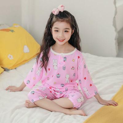 儿童棉绸睡衣套装夏季男童女童七分袖薄款中大童宝宝空调衫家居服