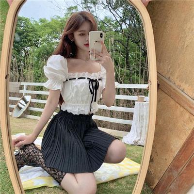 14641/春夏新款白色衬衫女方领短款设计感小众上衣短袖泡泡袖法式复古女