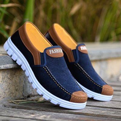春夏季爆款老北京布鞋男鞋男士休闲鞋一脚蹬透气帆布鞋防滑爸爸鞋