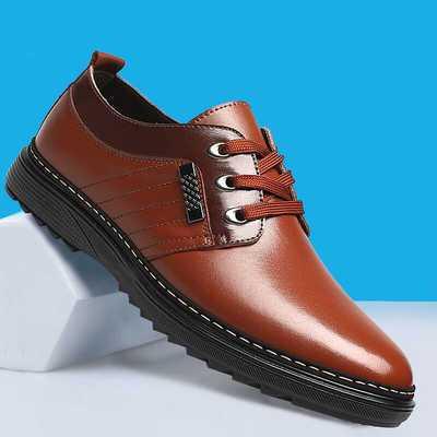 夏季男士新款商务休闲皮鞋男潮流正装男鞋加绒加厚系带低帮鞋