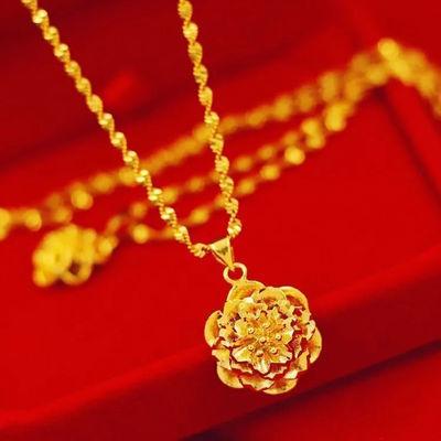 67526/水波纹项链富贵花吊坠越南沙金久不褪色镀金红绳苹果项链女金饰品