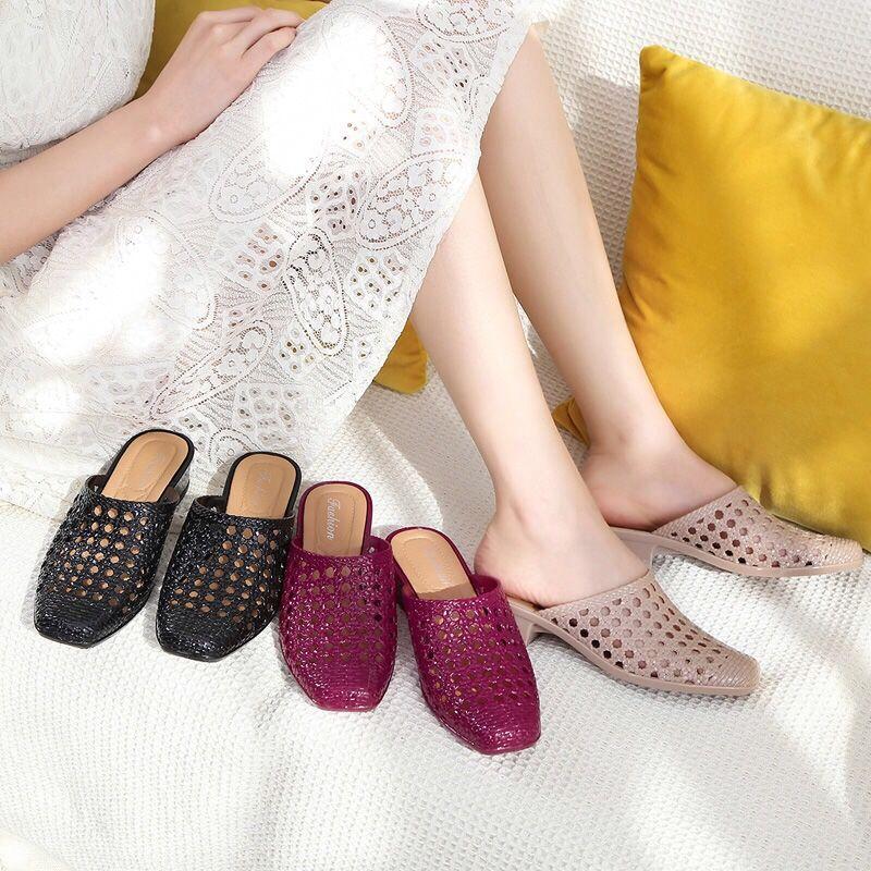 时尚包头镂空拖鞋女1双