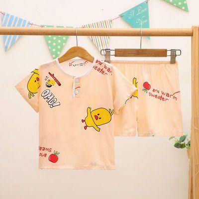 夏季儿童棉绸睡衣男童女孩1-13岁宝宝薄款短袖绵绸家居服卡通套装