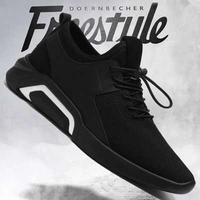 新款夏季透气板鞋男韩版潮流英伦网鞋黑色运动休闲鞋商务鞋子