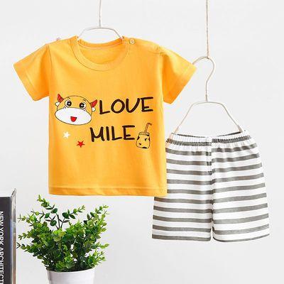 儿童短袖套装纯棉男童女童夏款婴儿宝宝T恤短裤两件套童装家居服