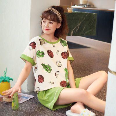 34309/短袖睡衣女夏棉质薄款家居服可爱学生卡通女士夏季短裤可外穿套装