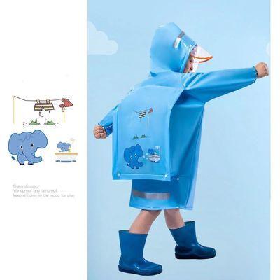 37369/卡通儿童雨衣女孩带书包位男童大童雨衣幼儿园小学生双帽檐雨衣