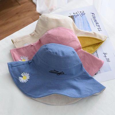 春夏新款小雏菊渔夫帽女棉夏季遮阳帽双面戴透气大沿太阳帽帽子女