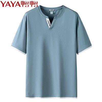 YAYA鸭鸭纯棉短袖t恤男V领2021夏季新款休闲纯色上衣打底衫内搭