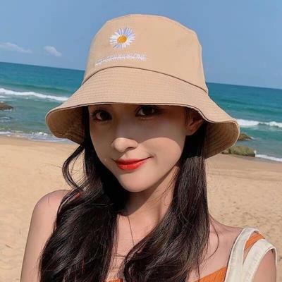 帽子女小雏菊遮阳帽个性旅游帽户外渔夫帽新款百搭可折携带盆帽女