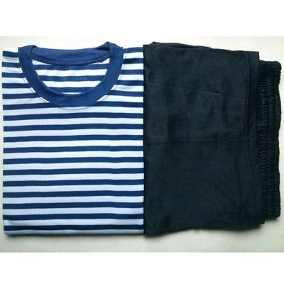 20664/透气圆领海魂衫T恤蓝白条海洋体能训练服学校男女通用速干短袖