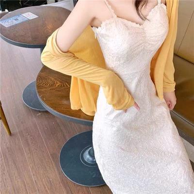 39339/2021春季新款气质V领吊带连衣裙修身长袖开衫上衣时尚两件套女装