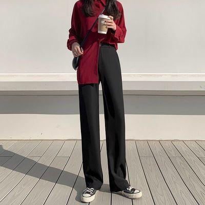 西装裤女春季长裤垂感西裤阔腿裤子职业上班外穿大码烟管休闲裤潮