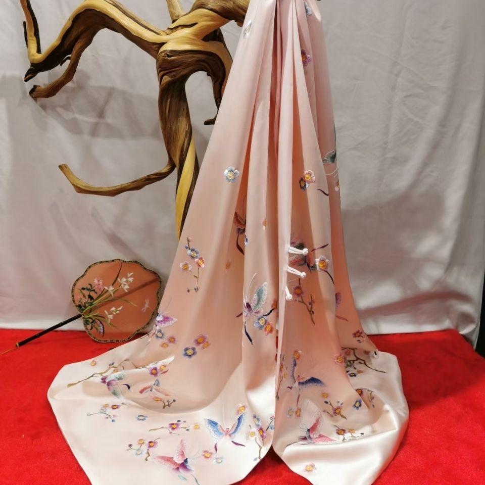 苏绣蝴蝶披肩重磅真丝30姆米素绉缎100%桑蚕丝