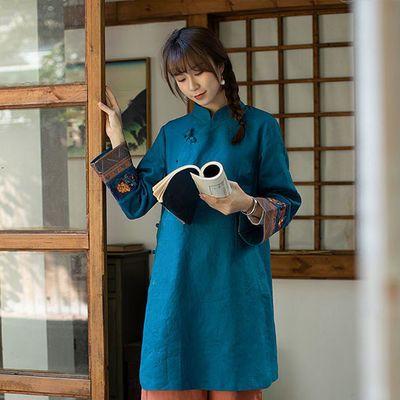 18383/2021春季新款中长款民族风复古盘扣棉麻上衣女中国风中式流苏茶服