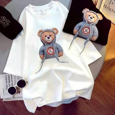 【两件装】100%纯棉短袖t恤女新款韩版宽松百搭印花半袖圆领上衣