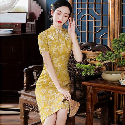 19035/年轻旗袍连衣裙2021新款改良版少女中国风显瘦春夏淑女气质中长款