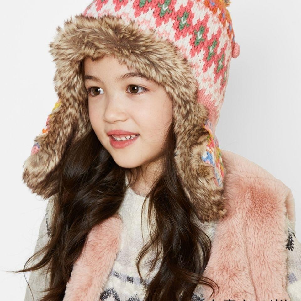 kenmont卡蒙儿童针织帽女可爱加绒防风保暖