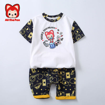 3520/阿狸儿童运动套装男夏季新款95棉短袖T恤短裤两件套男童帅气潮装
