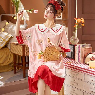 夏季短袖纯棉睡裙女公主风娃娃领可外穿中长卡通连衣裙睡衣家居服