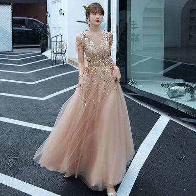 25393/晚礼服裙女2021新款高贵优雅气质成人礼生日宴会主持平时可穿长款