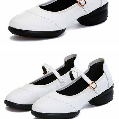 33541/广场舞鞋真皮中跟软底新款女士爵士水兵四季季跳舞鞋