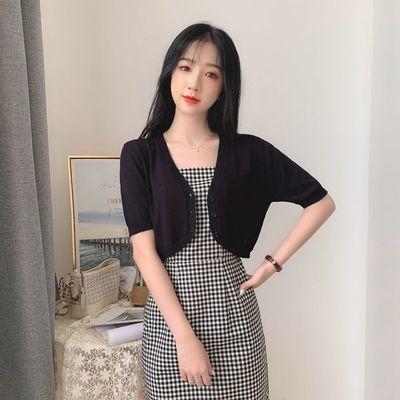 19699/2021新款韩版夏季高腰短款针织开衫外套女薄空调衫短袖防晒小披肩