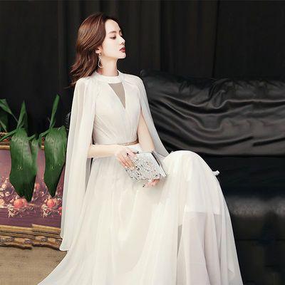 26781/晚礼服女2021新款宴会主持高贵气质法式轻奢大气优雅端庄白色长裙