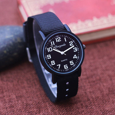 36399/简约休闲清晰数字儿童透气帆布手表男孩石英防水韩版电子潮流腕表