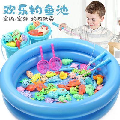 钓鱼玩具儿童益智力开发戏水磁性鱼竿水池套装男女孩亲子互动游戏