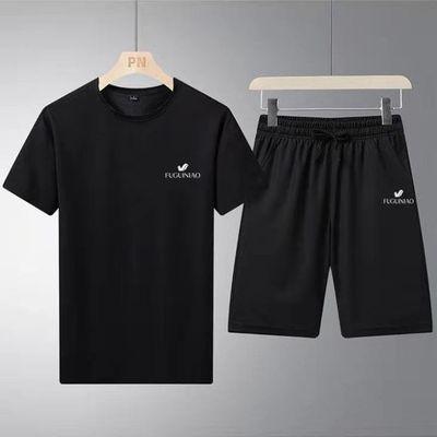 中国富贵鸟夏运动套装男透气休闲t恤短裤五分裤韩版大码宽松套装
