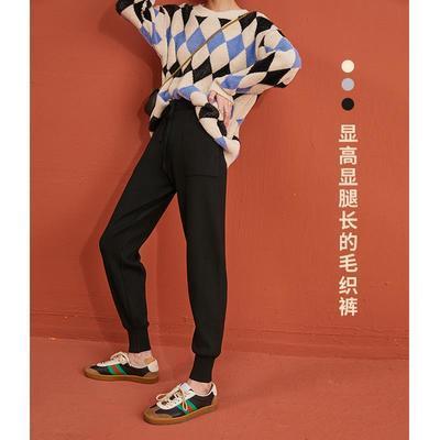 春季新款束脚女高腰裤子弹力针织宽松显瘦小个子哈伦奶奶裤