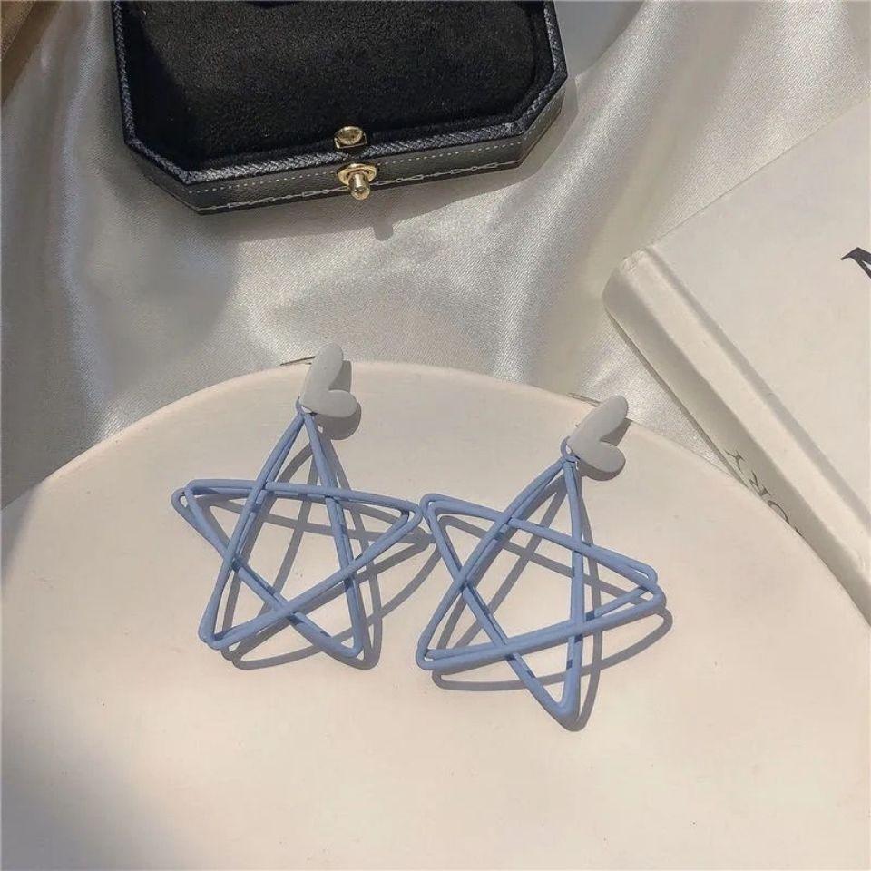 小清新蓝色耳钉镂空五角星星耳环