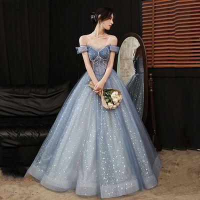 26839/高端晚礼服女2021新款宴会主持高贵优雅气质平时可穿连衣裙长款夏