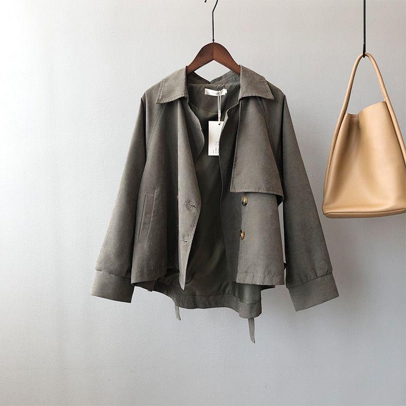 女款小个子短款风衣韩版气质外套