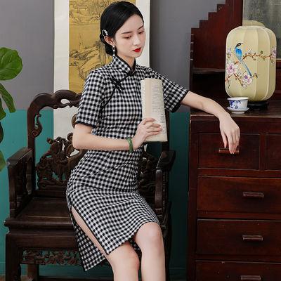 7949/子彧黑色格子旗袍年轻款少女2021新款夏季改良日常可穿复古连衣裙