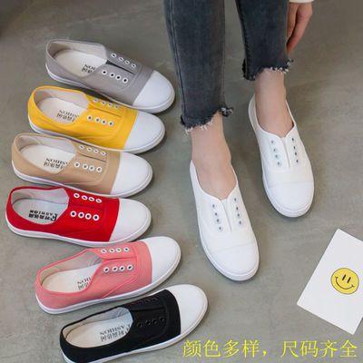 62742/八色可选ins帆布鞋女韩版假系带一脚蹬球鞋平底百搭休闲小白鞋313