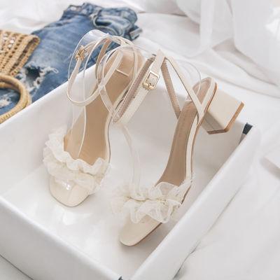39857/高跟鞋女2021年新款凉鞋仙女风中跟罗马鞋一字带蕾丝花边甜美鞋