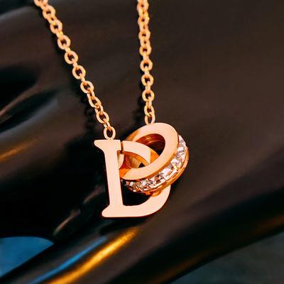 69741/D字母闪钻扣环钛钢项链女ins锁骨链 玫瑰金日韩气质女生学生饰品