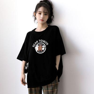 可爱多图上衣百搭体恤衫短袖T恤女2021新款衣服女学生韩版宽松