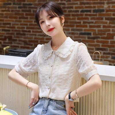 15342/2021夏季新款雪纺衬衫女设计感小众短袖娃娃领少女感温柔风上衣