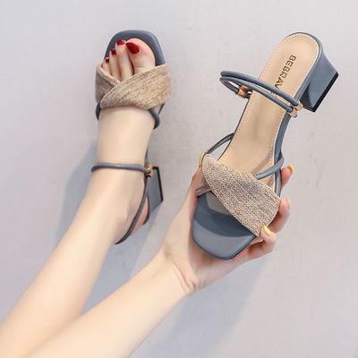凉鞋女仙女风女鞋2021年新款夏季网红百搭凉拖鞋中跟粗跟高跟鞋女