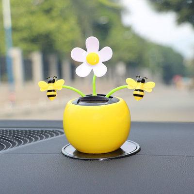 38968/创意汽车摆件太阳能摇头苹果花车内饰品中控台车载装饰用品可爱女