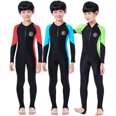 36413/儿童泳衣男童连体中大童游泳衣长袖长裤男孩学生夏防晒保暖游泳装