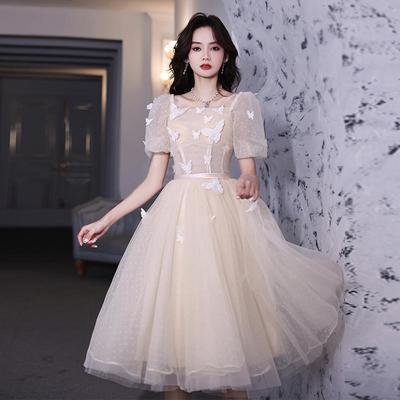 27202/香槟色小晚礼服2021新款名媛仙气质轻奢小个子蓬蓬裙短款伴娘服女