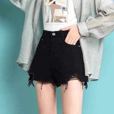 62482/黑色高腰牛仔短裤女2021年夏季新款宽松显瘦A字阔腿热裤子潮